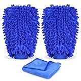 #2: INTEY Car Wash Mitt, Car Cleaning Kit, 2 Packs Microfiber Chenille Wash Glove with 27x12 Inch Towel, Blue