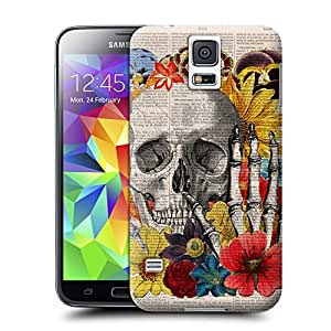 Unique Phone Case Skeleton skull head arts map Vintage Book Print - Skull flower collage Print on Vintage Book Hard Cover for samsung galaxy s5 cases-buythecase wangjiang maoyi