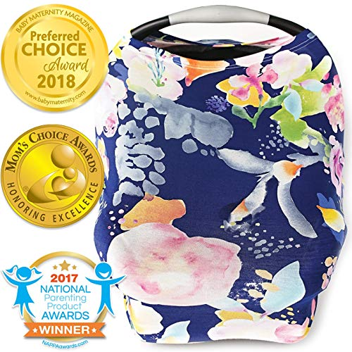 Nursing Cover, Car Seat Canopy, Shopping Cart, High Chair, Stroller and Carseat Covers for Baby Girls- Best Stretchy Infinity Scarf and Shawl- Multi Use Breastfeeding Cover- Pastel Navy Floral from Kids N' Such