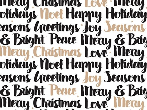 Pack Of 1, Golden Holiday Wishes 24'' X 417' Roll Christmas Premium Gift Wrap Papers For 175 -200 Gifts Made In USA by Generic