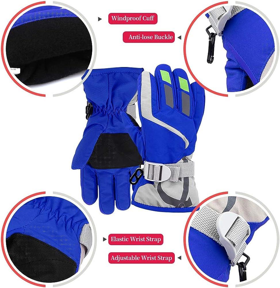 ORVINNER 2 Pairs Toddler Girls Boys Snow Gloves Kids Ski Winter Gloves Waterproof Children Warm Adjustable Gloves Blue/Navy Pack: Clothing