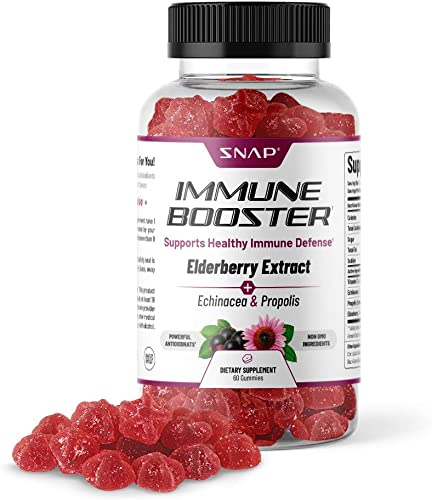 Snap Supplements Organics Immune Booster Elderberry Gummies with Vitaminc C, Propolis, Elderberry, Echinacea Extract Supports Recovery from Cold and Flu for Adults Kids – 60 Gummies