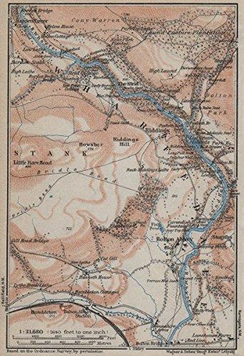 WHARFEDALE Topomap Bolton Abbey Yorkshire Dales BAEDEKER - Antique map box