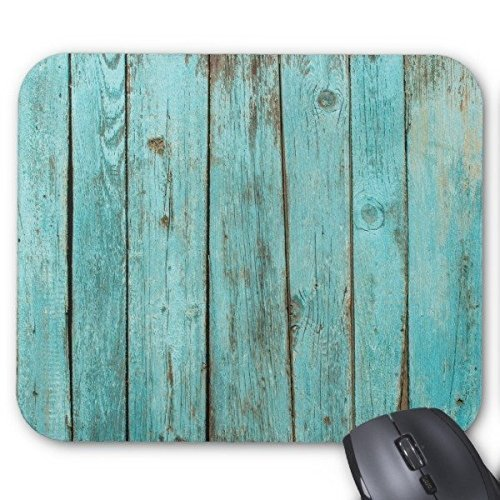 Turquoise Wood Teal Barn Wood Weathered Beach Mouse - Mouse Pad Teal