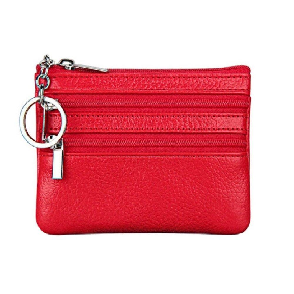 Mocase Miniレザー財布現金、カード、コイン財布ジッパースリーブwithハンドル、レッド   B07116N6QY