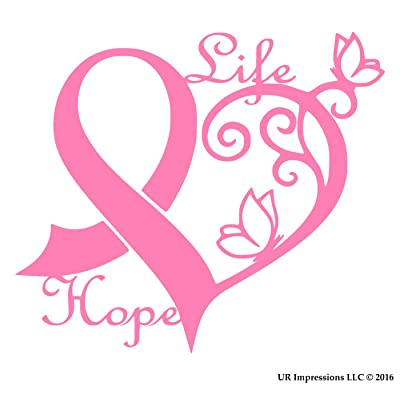 UR Impressions Pnk Cancer Awareness Ribbon Heart Butterfly Vine - Life Hope Decal Vinyl Sticker Graphics for Car Truck SUV Van Wall Window Laptop|Pink|6.4 X 5.5 Inch|URI275: Automotive