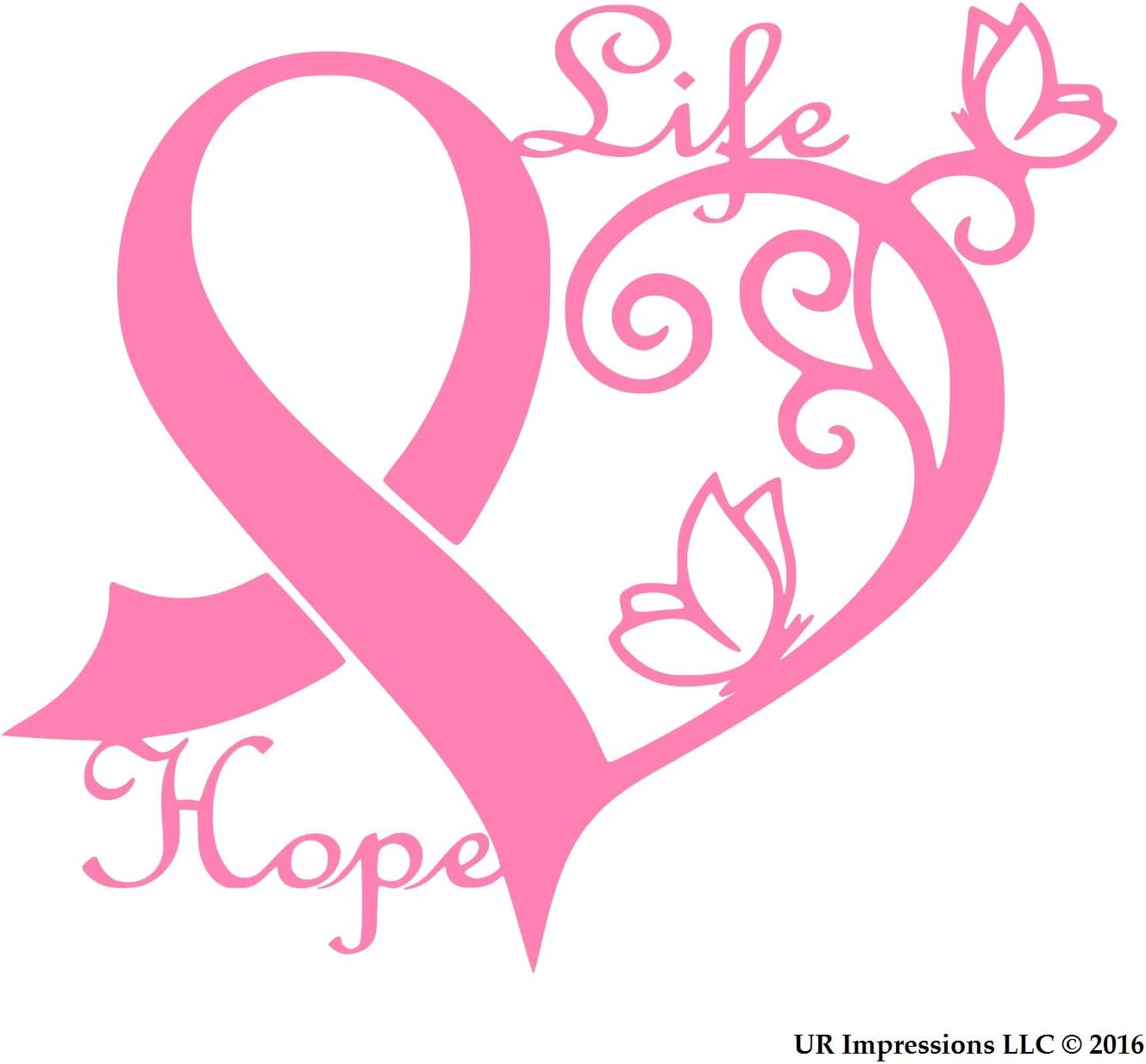 UR Impressions Pnk Cancer Awareness Ribbon Heart Butterfly Vine - Life Hope Decal Vinyl Sticker Graphics for Car Truck SUV Van Wall Window Laptop Pink 6.4 X 5.5 Inch URI275