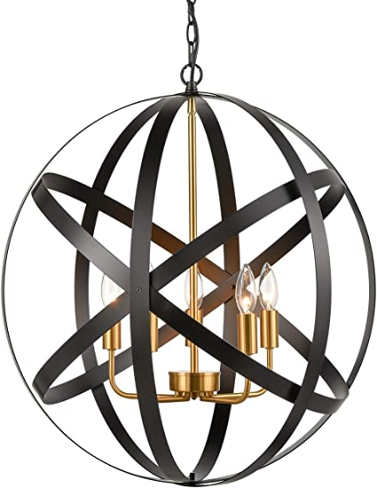 5 Light Large Farmhouse Sphere/Orb Chandelier Black Metal Globe Foyer Pendant Chandelier