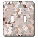 3dRose lsp_272814_2 Image of Abstract Trendy Geometrical Copper Marble Rose Gold Triangle Pattern Toggle Switch, Mixed