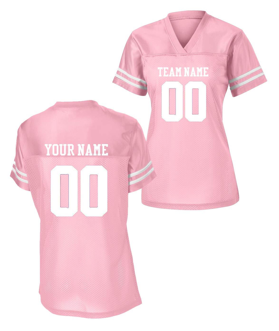 new arrival d7d47 42100 Sport-Tek Womens Custom Stadium Replica Football Jersey (Pink, Large)