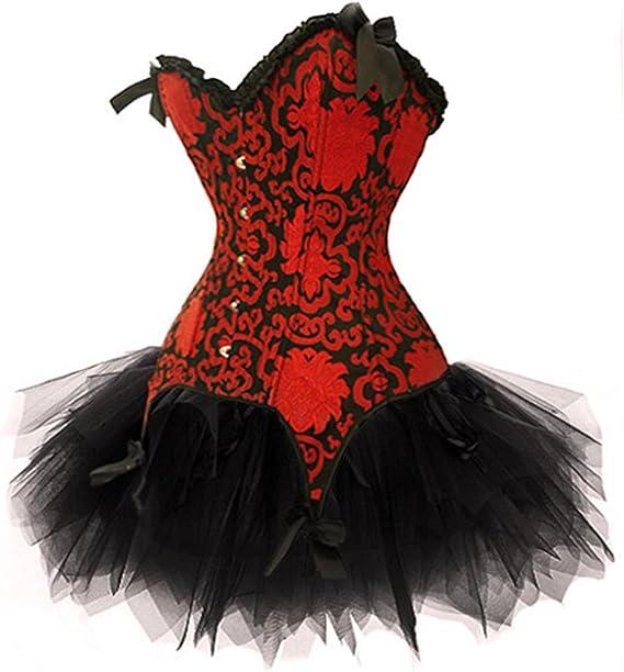 Grebrafan Mujer Nupcial Corsé Negro y Rojo Conjunto Corset y Falda ...