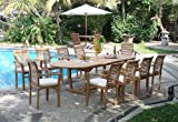 """New 9 Pc Luxurious Grade-A Teak Dining Set - Large 117"""" Mas Oval Table(Trestle Leg) And 8 Mas Stacking Arm Chairs #WHDSMSb"""