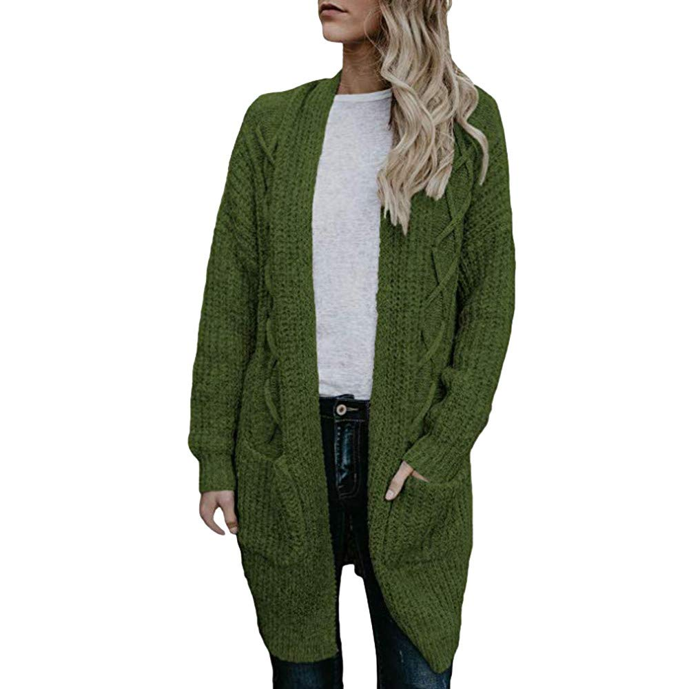 Womens Sweaters Clearance Liraly Open Front Long Sleeve Chunky Cable Knit Long Cardigans Sweater Pockets(Green,US-4 /CN-S)