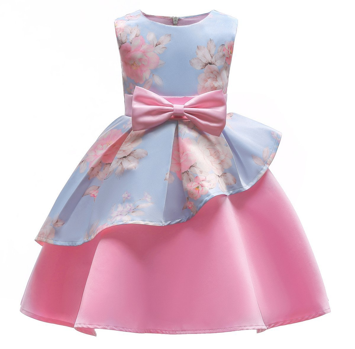 Big Girl Dresses Size 10-12 Wedding Party Prom Special Occasion Tops 7-16 Years Lace A Line Girls Bridesmaid Tutu Dresses Children Birthday Princess Pageant Elegant Gift Beauty Cute Pink 140
