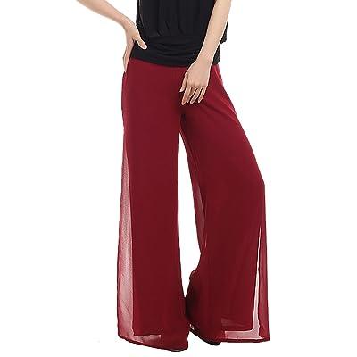 AIVTALK Femmes Casual Pantalons Fluides Palazzo Jambe Pantalons Large Longues Palazzo Pantalons - 80cm - Rouge
