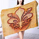 AuraiseHome 100% Cotton Super Absorbent Bath Towel Grungy Lily Retro Renaissance Spirit Element Victory Holy Artwork Fast Drying, Antibacterial L55.1 x W27.5 INCH