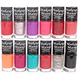 Makeup Mania Nail Polish Set Combo, Red, Orange, Pink, Silver, Purple, Black (Pack of 12)