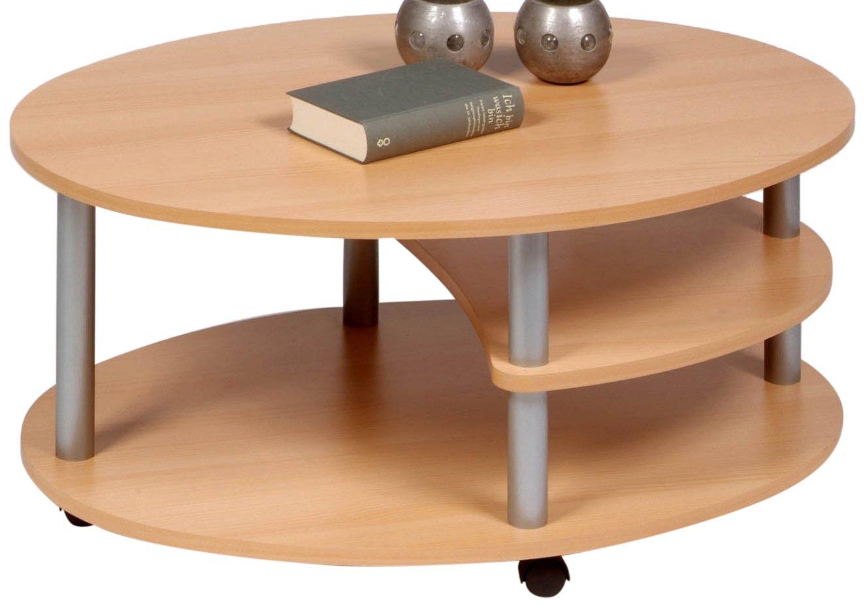 Proline-Tische KG M838 Primo Table basse ovale en hêtre avec roulettes 91 x 70 cm