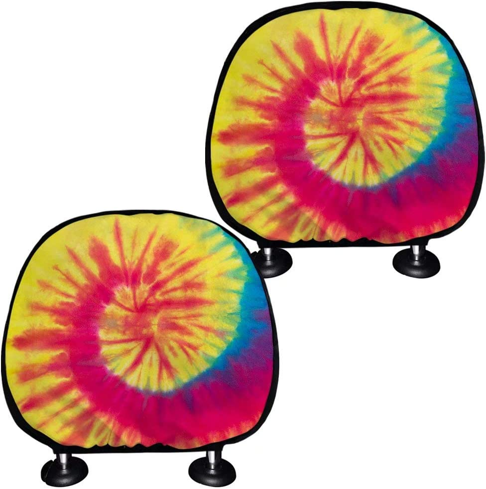 Freewander Bright Swirl Tie Dye Headrest Covers for Cars 2 Piece Car Headrest Cover Car Seat Head Rest Cover