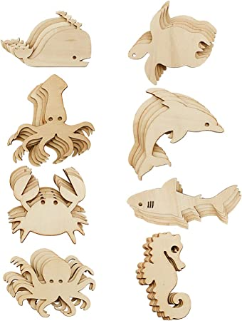 Sea Creatures Wooden Craft Shapes Under the Sea Decoration Sea Ocean Theme Embellishments Art Starfish Seahorse Jellyfish Whale Crab Fish...