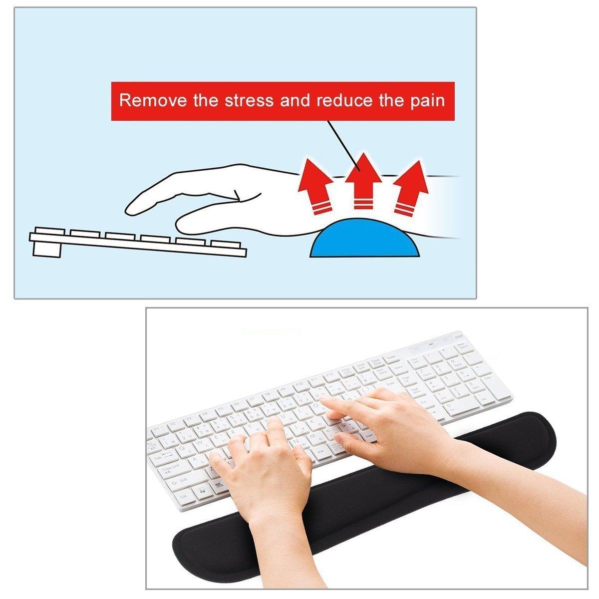 Mauspad und Tastatur-Pad im set Maus Handballenauflage Auflage Handgelenk Unterst/ützung Ergonomische Handgelenkpolstertr/äger bequeme Mausmatte aus Memory-Schaum f/ür Computer und Laptop schwarz