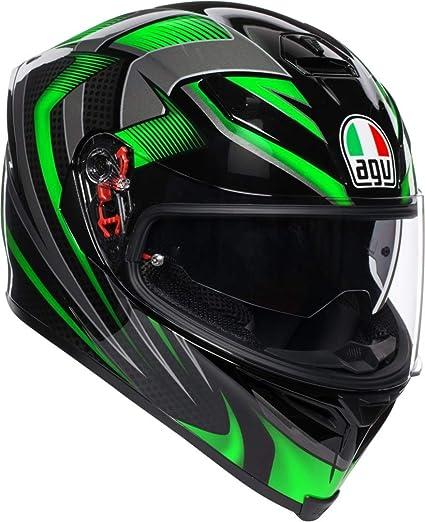 AGV K5-S Hurricane 2.0 Negro Verde Casco De Moto De Cara Completa Tamano S