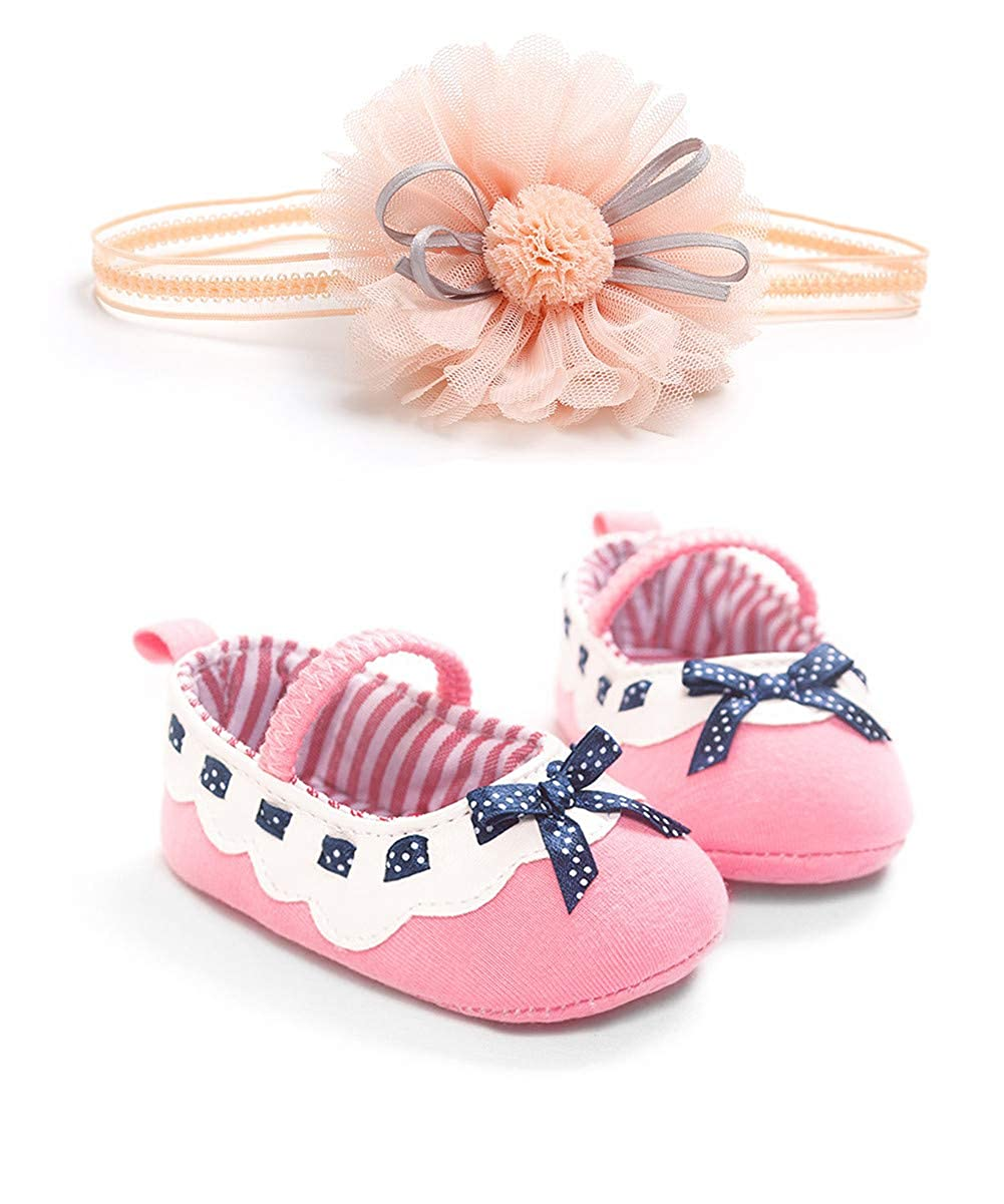 UWESPRING Cute Baby Girls Shoes Floral First Birthday Gift with Headband with Socks
