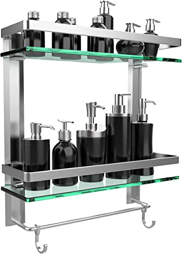 GeekDigg Bathroom Shelf, Durable Aluminum with 2 Tiers Tempered Glass Shower Shelf Kitchen Storage Bracket, Wall Mounted Shelves Shower Caddy with Tower Bar 2 Tiers