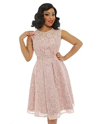 Lindy Bop Aleena Soft Pink Prom Dress
