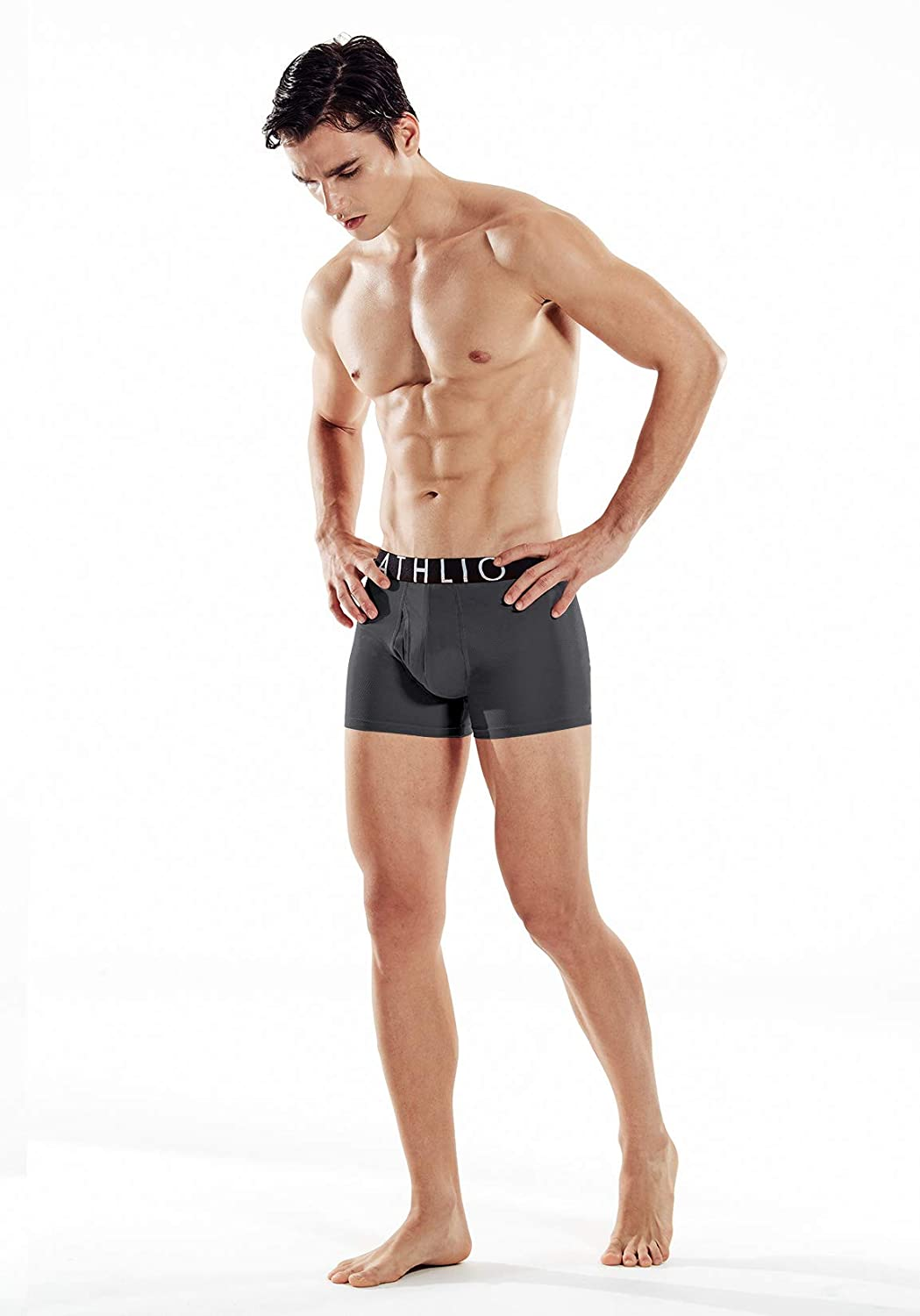 ATHLIO Mens Relaxed Stretch 3 inches Open-Fly Cool Dry Brief Mesh Underwear Trunk Pack of 3