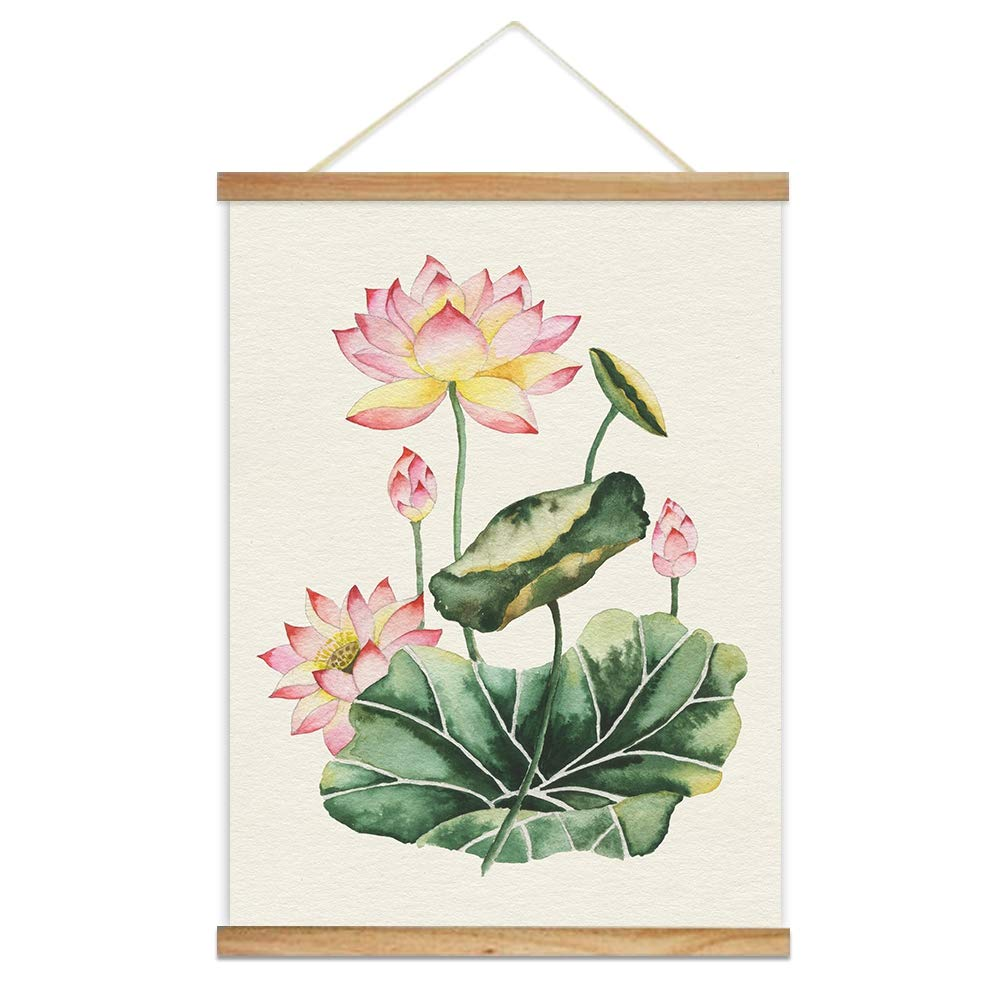 Hanging Poster With Wood Frames Watercolor Style Lotus Flowers And