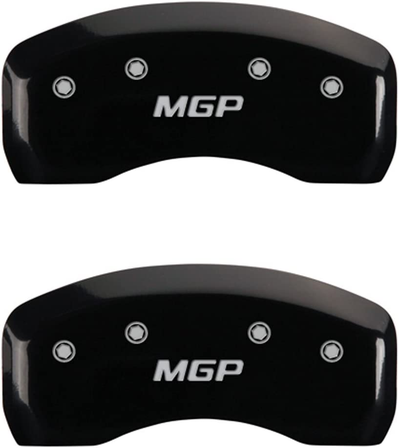 Set of 4 MGP Caliper Covers 37005SMGPBK MGP Engraved Caliper Cover with Black Powder Coat Finish and Silver Characters,