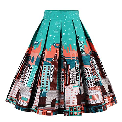 Girstunm Women's Pleated Vintage Skirt Floral Print A-line Midi Skirts with Pockets Statue of Liberty -