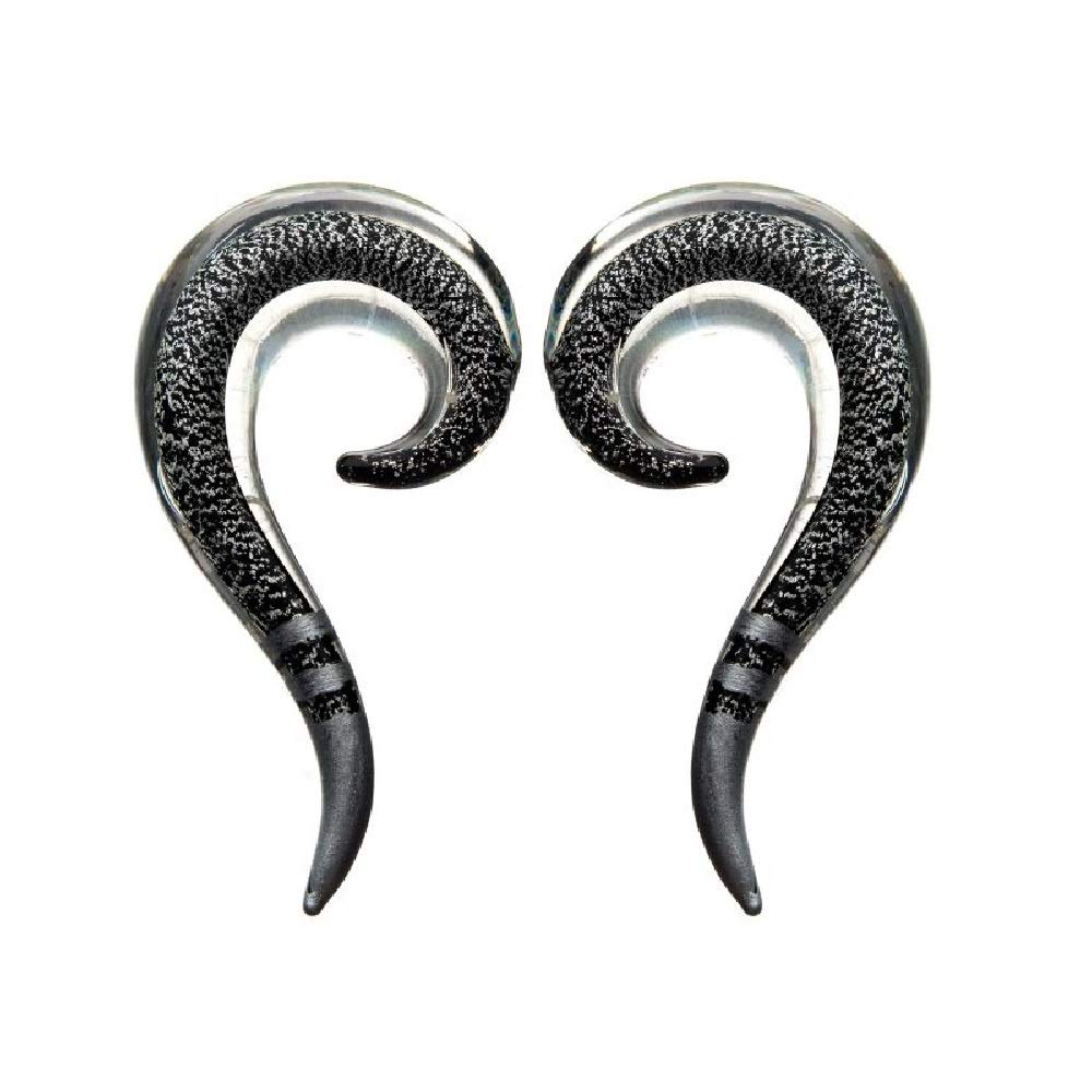 Sold as a Pair Pierced Owl Onyx Black Foil Hooked Glass Hanging Taper Plugs