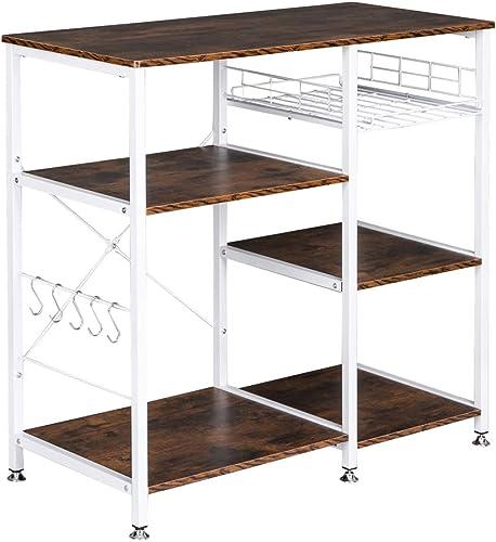 Kitchen Baker's Rack Wood Microwave Stand Kitchen Island Storage Cart Utility Storage Shelf