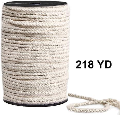 Cordón de macramé de 4 mm x 218yd, 100% algodón natural, cuerda de macramé, 3 hilos, cuerda de algodón trenzado para colgar en la pared, hecho a mano: Amazon.es: Juguetes y juegos