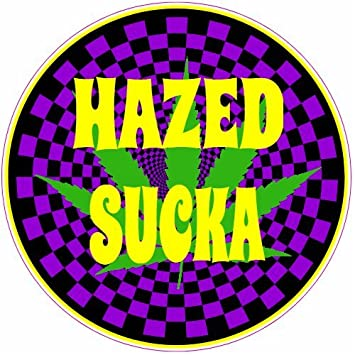 U s custom stickers hazed psychedelic cannabis circle sticker 9