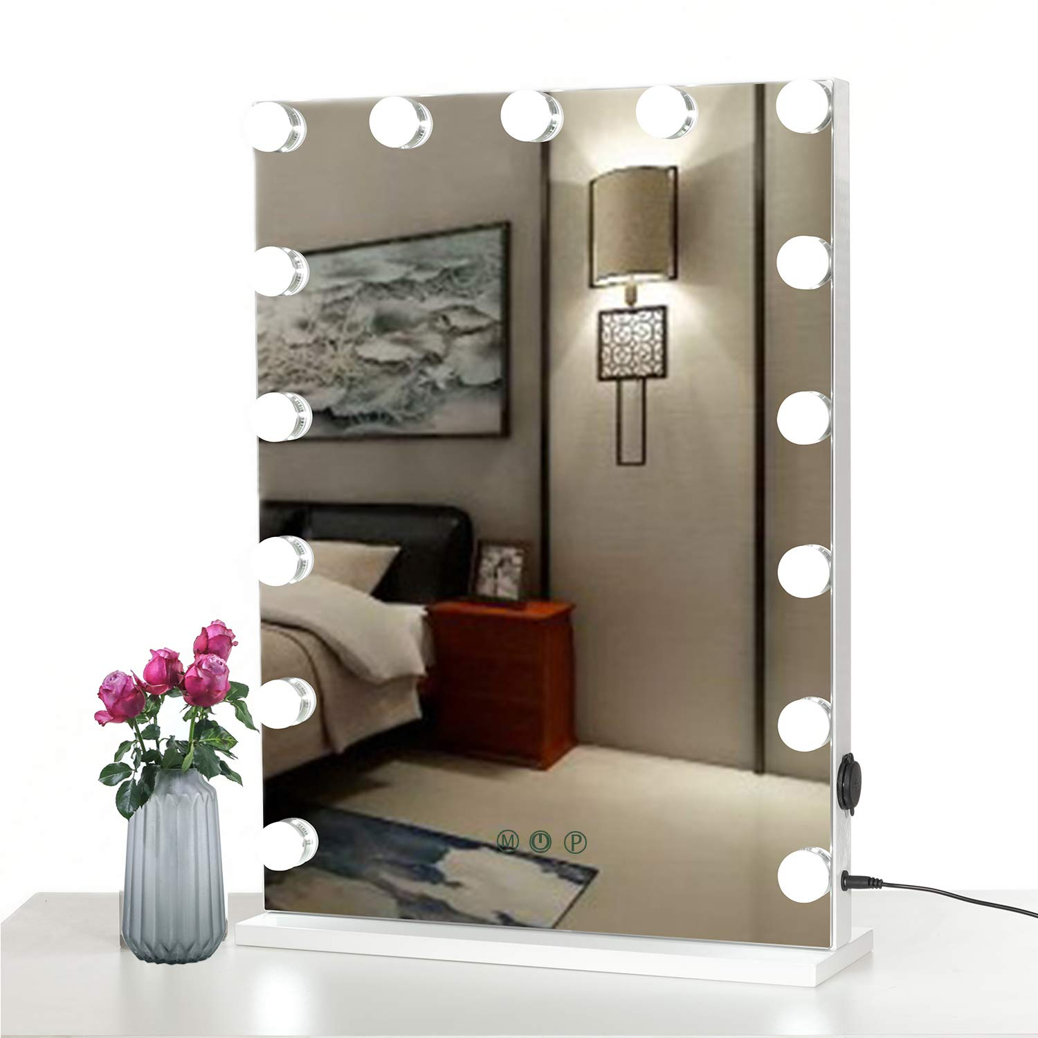 WAYKING Makeup Mirror with lights, Hollywood Vanity Mirror with Touch Screen Dimmer, USB Charging Port, 3 Color Lighting Modes, White (L18.9 X H22.8 inch) ... (White-2nd Generation)