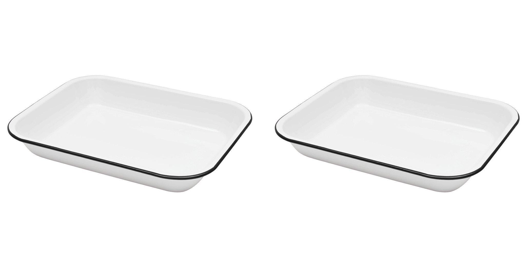 Crow Canyon - Set of 2 Enamelware Large 3 Quart Roasting Pans (White with Black Rim)