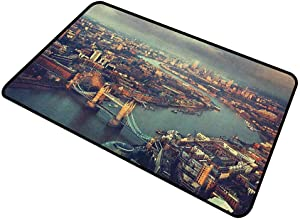 shirlyhome Doormat Outdoor London Home Plate Doormat Panoramic Picture of Thames River and Tower Bridge Famous Cityscape 20
