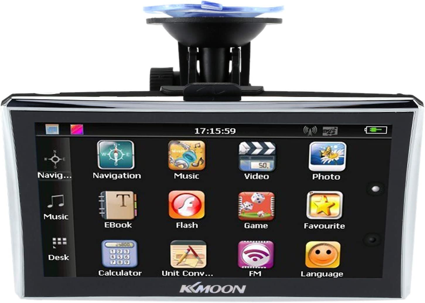 KKmoon Navegador GPS para Coches, GPS Coches 7 Pulgadas HD Pantalla Tactil 128MB RAM 4GB ROM FM MP3 Video Reproductor con Mapa