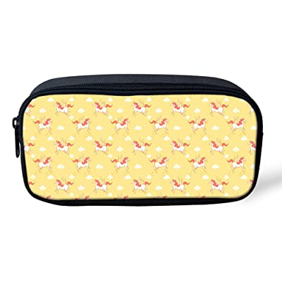 Coloranimal Yellow Women Make Up Cosmetic Bag Horse Print Kids Pencil Cases