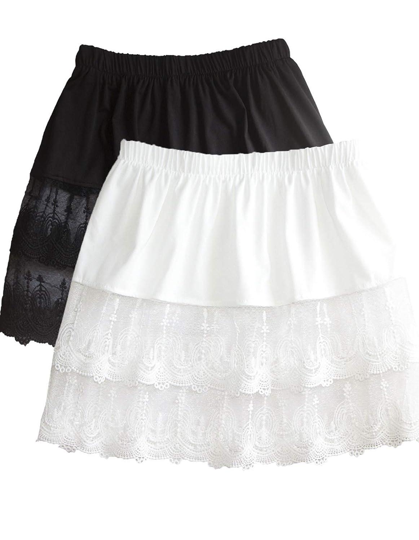 2cb727f6701bb Women's Lace Extender Mini Lace Skirts Half Slip Extra Length Plus Size at  Amazon Women's Clothing store: