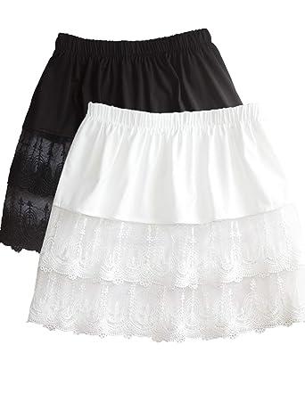 700c4bfced7 Women's Lace Extender Mini Lace Skirts Half Slip Extra Length Plus ...