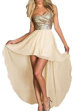 ... BOLAWOO Donna Vestiti Chiffon Lunghi da Sera Estivi Eleganti da  Cerimonia Bandeau Abito Impero Alto Basso ... d5a165f9468