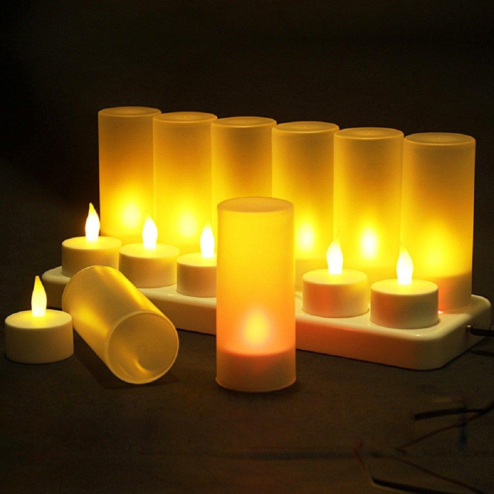 Set de 12 bougies /à LED rechargeables