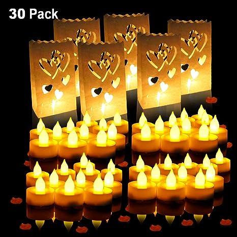 SPECOOL Velas de té con velas LED con velas, funciona con pilas, sin llama, 24 paquetes y bolsas de papel blanco para velas