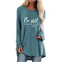 jiumoji Women Plus Size Casual T-Shirt Print Round Neck Long Sleeved Long Soft Breathable Blouse Tunic Tops