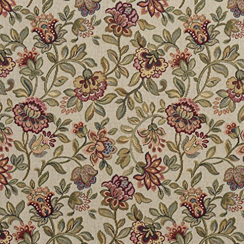 - Light Green and Rose Woven Floral Country Tapestry Upholstery Fabric by the yard