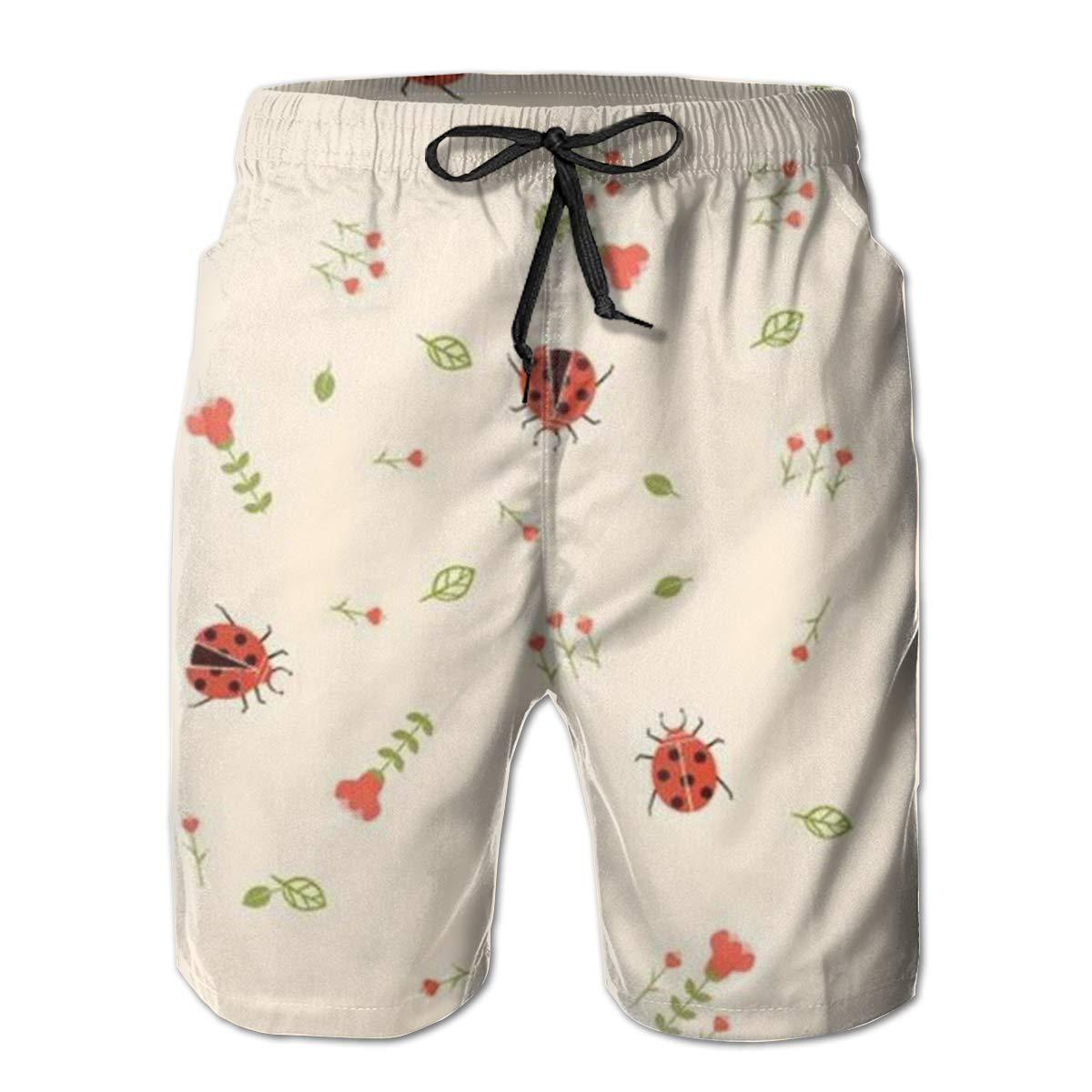 DHVJBC Mens Ladybug Summer Holiday Quick-Drying Swim Trunks Beach Shorts Board Shorts